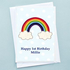 'Rainbow' Personalised Girls Birthday Card