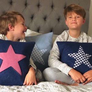 Navy Handmade Wool Cushion With Star - cushions