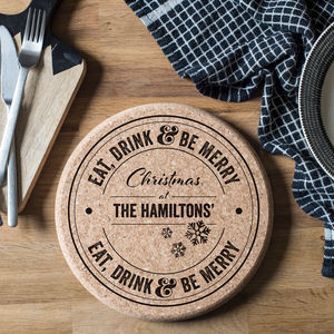 Personalised Christmas Cork Trivet - christmas sale