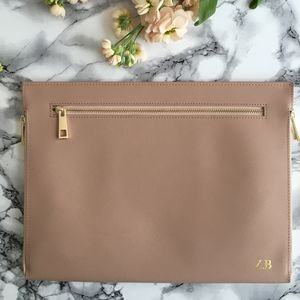 Personalised Saffiano Leather Three Zipper Clutch Bag