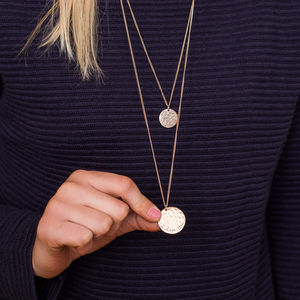 Cayla Personalised Hammered Disc Layer Necklace