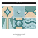 Geometric Turquoise Tile Stickers Set Pack Of 24