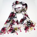 Personalised White And Pink Floral Print Scarf