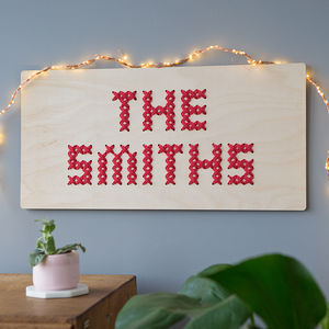 Family Name Cross Stitch Board - best gifts for families