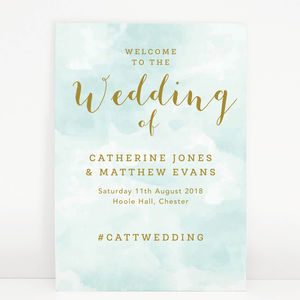 Mint Romance Wedding Welcome Sign