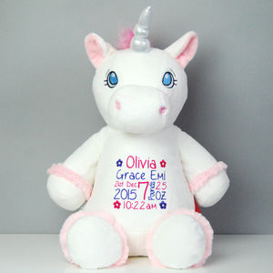 Personalised New Baby Unicorn Soft Toy