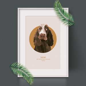 Circle Personalised Pet Portrait Print - gifts for her