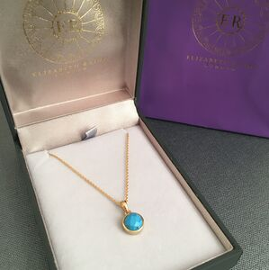 Gold Vermeil Throat Chakra Turquoise Pendant Necklace