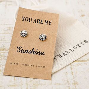 You Are My Sunshine Silver Earrings - personalised jewellery
