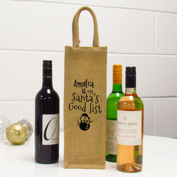 Santa's Good List Personalised Single Wine Bag
