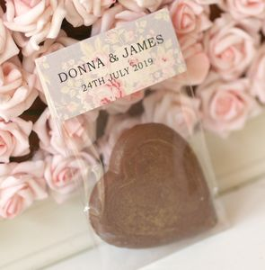 Floral Hearts Chocolate Wedding Favour Bags