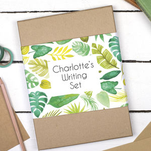 Personalised Tropical Leaves Writing Set - letter writing accessories