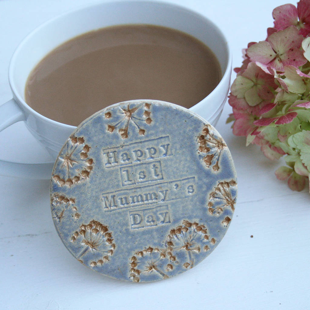 Blue And Gold First Mummy's Day Ceramic Coaster
