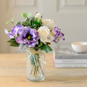 Lilac Haze Artificial Flower Posy With Vase - flowers, plants & vases