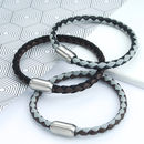 Men's Leather And Cord Mix Bracelet With Matt Clasp (Black/Grey, Brown & Brown/Grey)