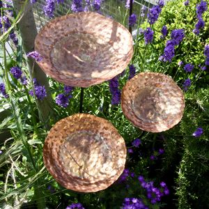Set Of Three Vintaged Copper Garden Birdbaths - birds & wildlife