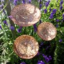 Set Of Three Vintaged Copper Garden Birdbaths