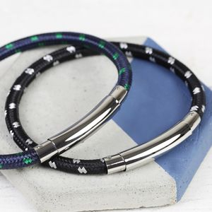 Men's Cord Tube Clasp Adjustable Bracelet - bracelets