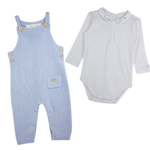 Baby Boy Blue Knitted Dungaree And Bodysuit Set - clothing