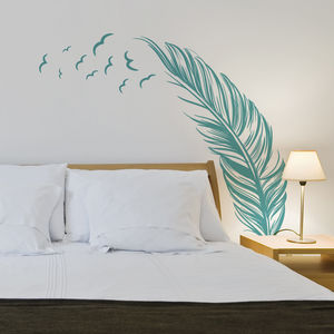 Feather With Flying Birds Wall Sticker - wall stickers by room