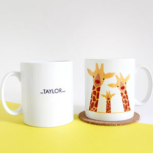 Giraffe Family Selfie, Personalised Mug