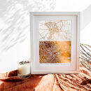Double Map Personalised Metallic Map Print