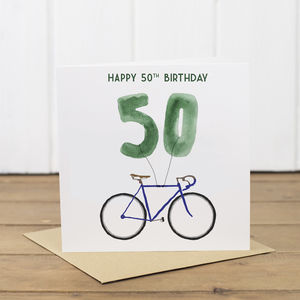50th Bicycle Balloon Birthday Card