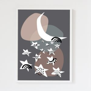 Stars Charcoal Grey Children's Print