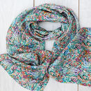 Flower Field Long Silk Scarf