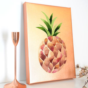 Metallic Rose Gold Pineapple Canvas - drawings & illustrations
