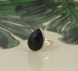 Black Agate Stacking Ring In Sterling Silver