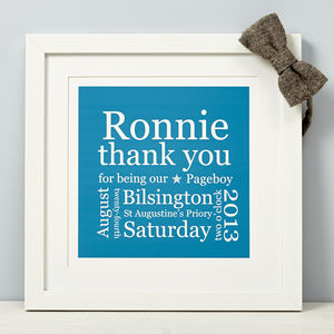 Personalised Pageboy Thank You Print - winter sale