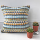 Mustard And Grey Knitted Scandi Cushion