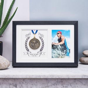 Personalised Triathlon Medal And Photo Black Frame - new in shop by interest