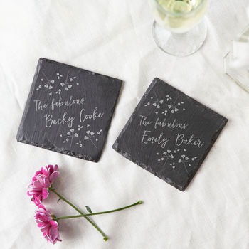 Personalised Slate Coaster Floral Gift