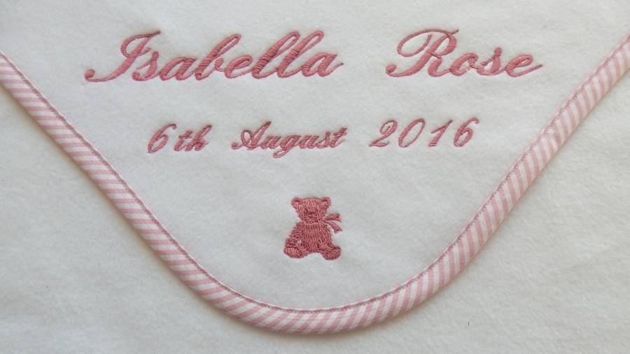 personalised embroidered baby blanket by broderie blanc ...