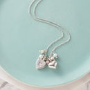 Personalised Silver Hearts And Pink Opal Necklace