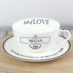 'Full Of Love' Personalised Teacup And Saucer