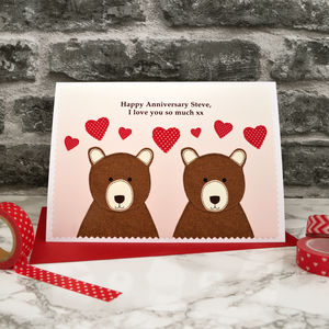 'Bears' Personalised Anniversary Card
