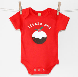 'Little Pud' Personalised Christmas Baby Grow - babygrows