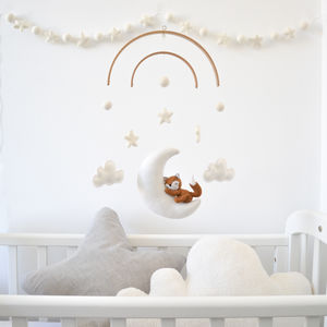 Sleeping Fox With Moon And Stars Baby Mobile