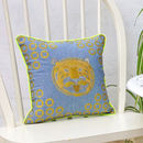 Metallic Tiger Embroidered Denim Cushion