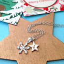 Snowflake Necklace With Initial Star