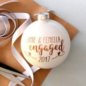 Personalised Copper Engagement Bauble - tree decorations