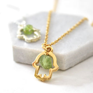 Lucky Hamsa Birthstone Charm Necklace - women's jewellery
