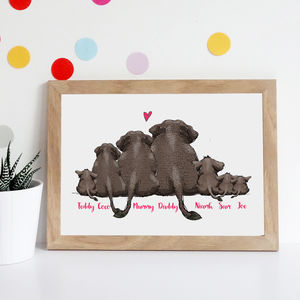 Personalised Elephant Family Print - posters & prints