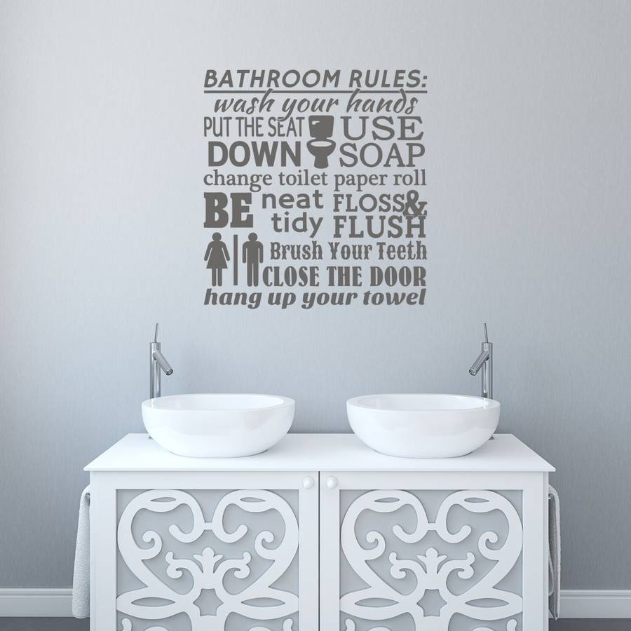 Bathroom Rules Word Cloud Wall Sticker Part 64