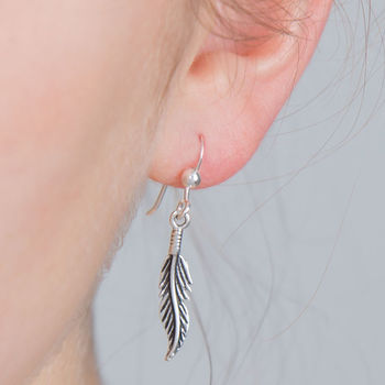 Oxidised Silver Feather Drop Earring