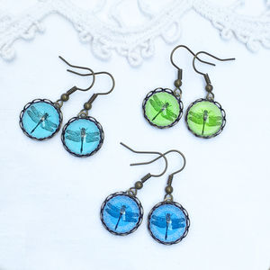 Vintage Style Glass Dragonfly Earrings