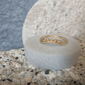 Hammered Curved Ring With Bobs In Fairtrade Gold - wedding rings